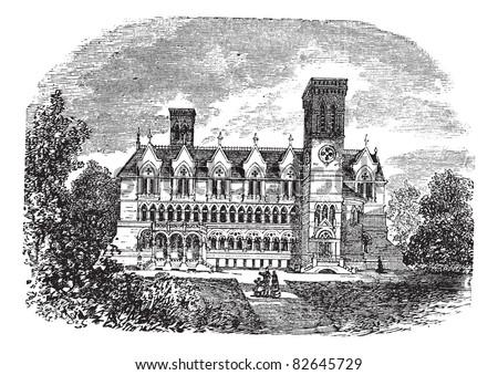 Purdue University, West Lafayette, Indiana, vintage engraving. Old engraved illustration of purdue university building, West lafayette, 1800s. Trousset encyclopedia (1886 - 1891).