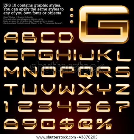 Pure gold Light Extra bevel File contains graphic styles available in the Illustrator 10 & You can apply the styles to any of you own fonts or objects