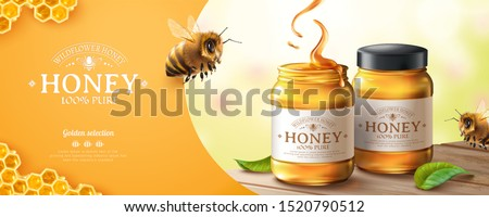 Pure honey banner ads with cute honey bee on bokeh background in 3d illustration