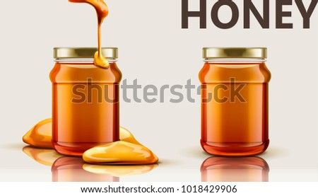 Pure honey jar mockup, set of glass jar with honey dripping from top in 3d illustration, beige background