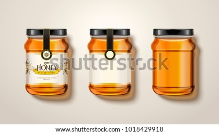 Pure honey jar mockup, top view of glass jars with honey in 3d illustration, some with labels and package design