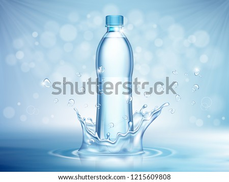 Pure mineral water, plastic bottle in the middle and flying water drop elements on blue background. Vector illustration