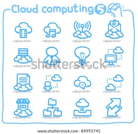 Pure series | cloud computing,communication,internet,business,network icon set