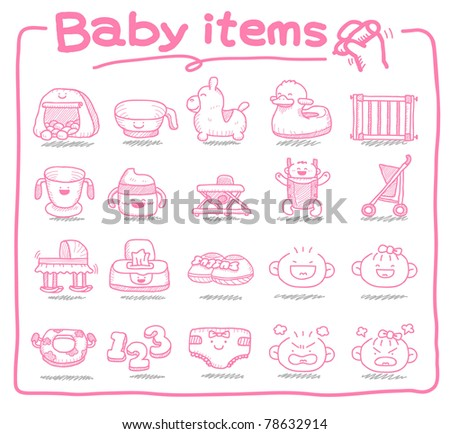 Pure series | Hand draw baby icon, baby items