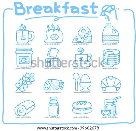 Pure series   Hand drawn  Breakfast, food  icon set