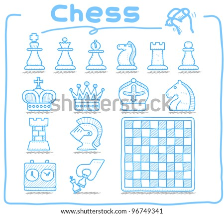 Pure series | Hand drawn Chess icon set