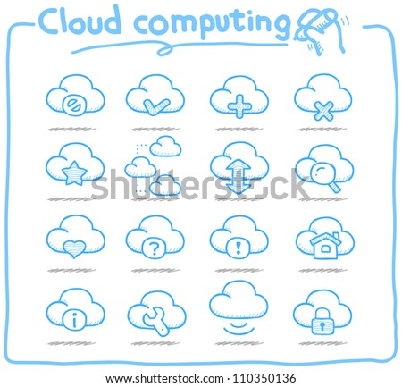 Pure Series | Hand drawn cloud computing  icon set