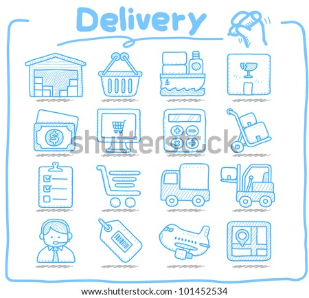 Pure Series | Hand drawn Delivery,Shopping  icon set