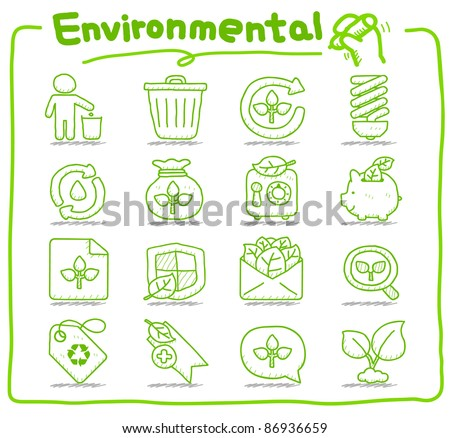 Pure series | Hand drawn Environment,ECO icon set