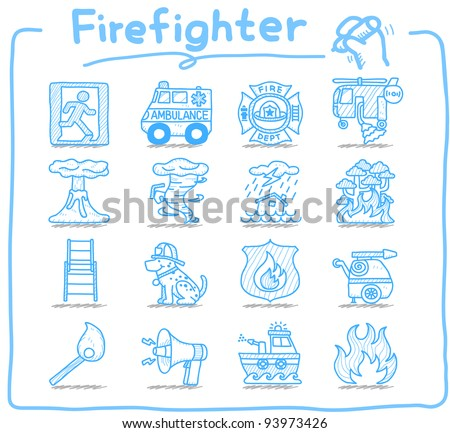 Pure series | Hand drawn firefighter,fireman,emergency icon set