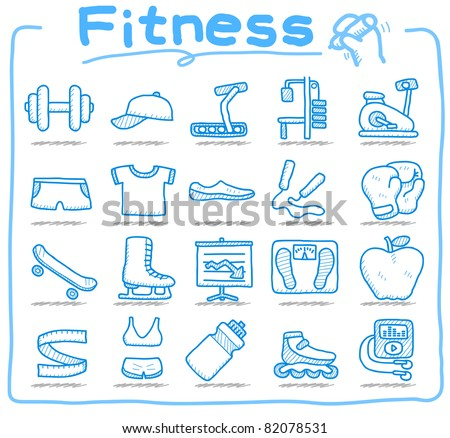 Pure series | hand drawn fitness icon set