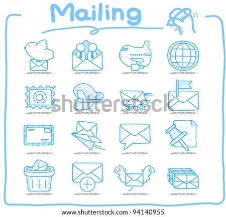 Pure series | Hand drawn mailing ,communication icon set