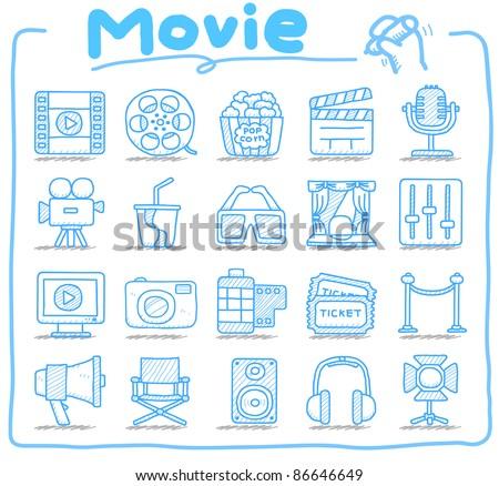 Pure series | Hand drawn movie icon set