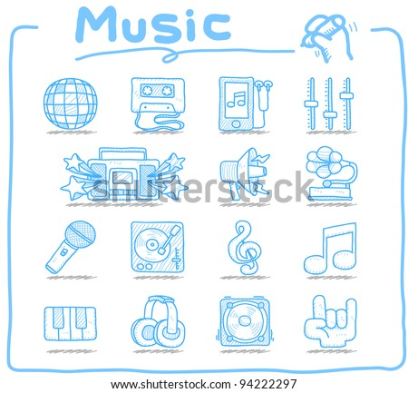 Pure series | Hand drawn music icon set