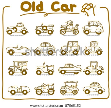 Pure series | Hand drawn old car icon set