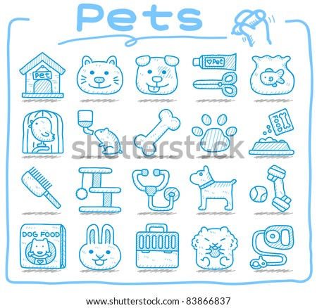 Pure series | Hand drawn pet animals and objects icon set