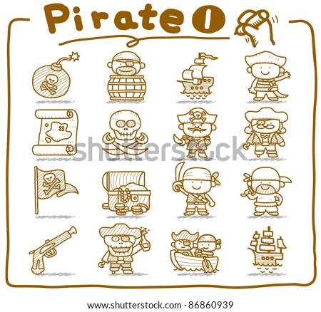 Pure series | Hand drawn pirate icon set
