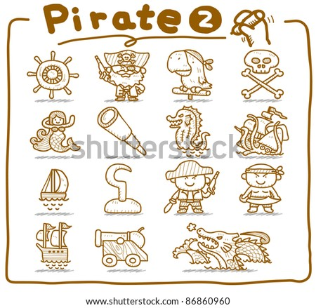 Pure series | Hand drawn pirate icon set