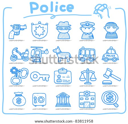 Pure series | hand drawn police , security icon set