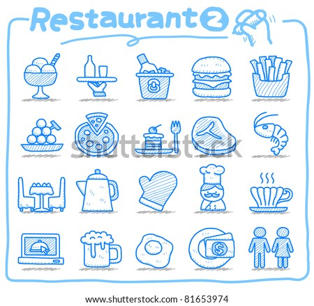 Pure series | Hand drawn Restaurant Icon set