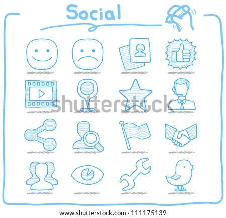 Pure Series | Hand drawn Social,Network icon set