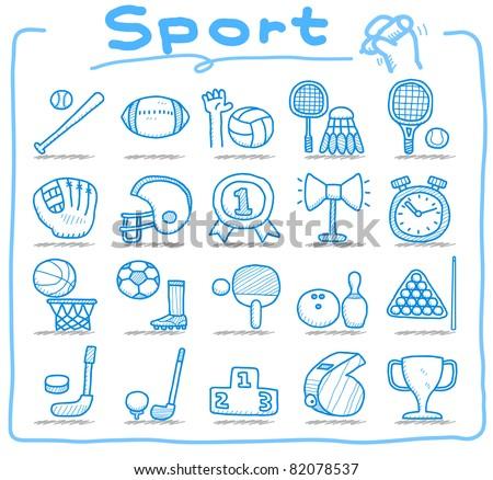 Pure series | hand drawn sport icon set