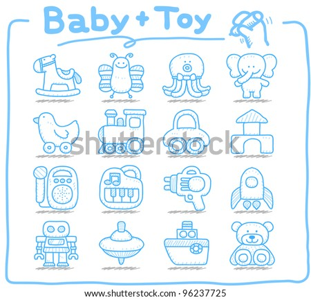 Pure series | Hand drawn Toy,baby icon set