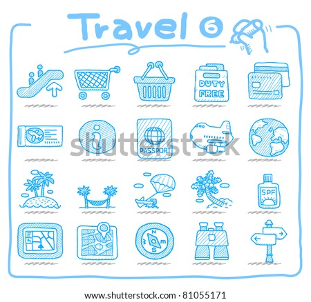 Pure series | Hand drawn travel icon, vacation, trip