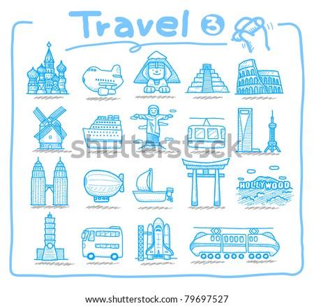 Pure series | Hand drawn travel ,landmark,transportation icon set - stock vector