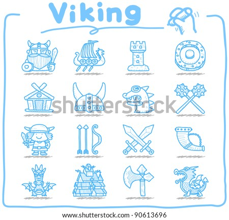 Pure series   Hand drawn Viking Pirate icon set