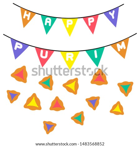 Purim in abstract style on white background. Beautiful purim, great design for any purposes. Greeting card. Greeting card background. Isolated vector design