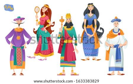 Purim. Jewish holiday. Book of Esther characters and heroes: Achashveirosh, Mordechai, Esther, Haman, Vashti. Vector illustration Foto stock ©