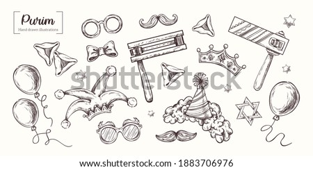Purim. Vector Hand Drawn. Sketch Illustration. Jewish Holiday, traditional purim symbols, noisemaker, masque, gragger, hamantaschen cookies, crown, star of david, festival decoration, carnival vector