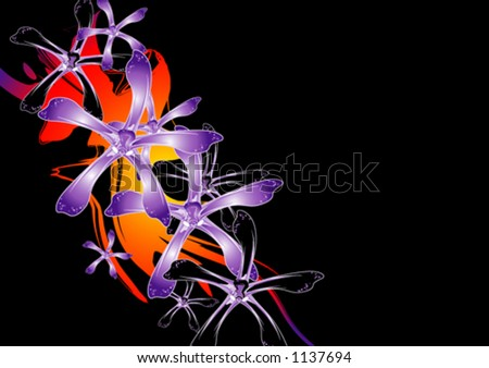 Purple and black orchids - stock vector