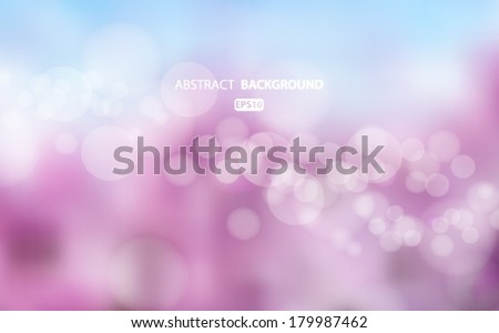Purple and blue abstract blurred background with bokeh effect. Spring, nature, overcast. Vector EPS 10 illustration.