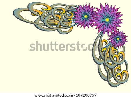 Purple and Blue flowers corner design with green and yellow swirls