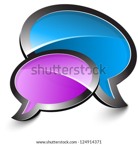 Purple and blue talk balloons isolated on a white background