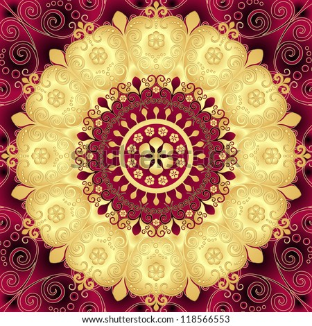 Purple and gold round vintage floral pattern (vector)