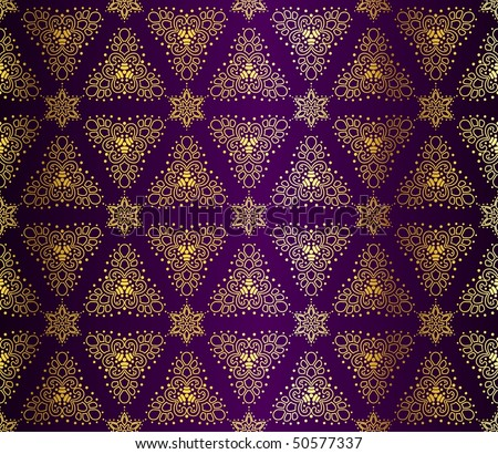 Purple and gold seamless arabesque (Eps10); JPG version also available