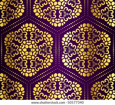 Purple and gold seamless honeycomb arabesque (Eps10); JPG version also available