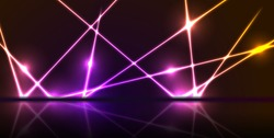 Purple and orange neon laser lines with reflection. Abstract rays technology retro background. Futuristic glowing graphic design. Modern vector illustration