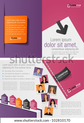 Purple and orange template for advertising brochure with business people