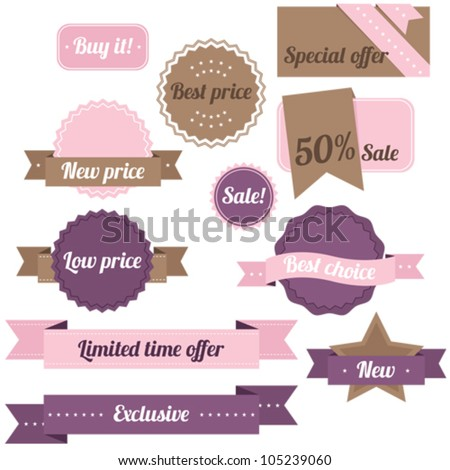 Purple and pink set of sale labels