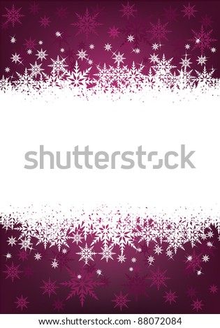 purple and white christmas snowflake background with space for text