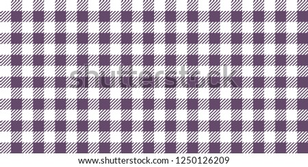Purple and white woven gingham. Seamless background pattern.