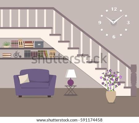purple armchair  located under