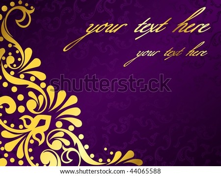 wallpaper purple and gold. stock vector : Purple