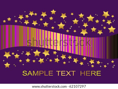purple background  with golden stars. vector illustration.
