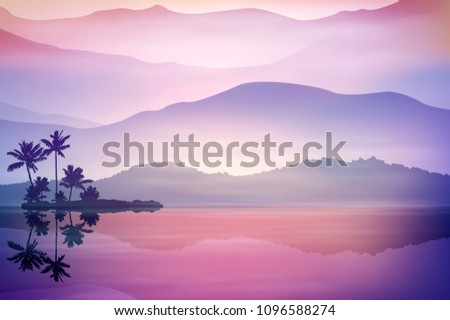 purple background with sea and