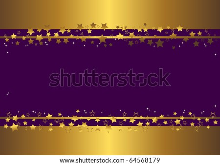 purple banner with gold stars. vector